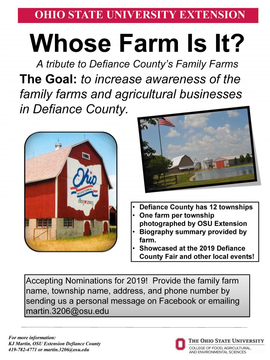 Whose Farm Is It? Flyer seeking nominations for 2019 farms